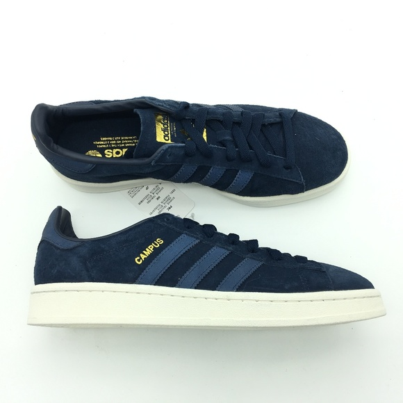 regard détaillé d5794 2a305 Adidas Navy Gold Campus Shoes BZ0073 7.5 P10:x0252 NWT
